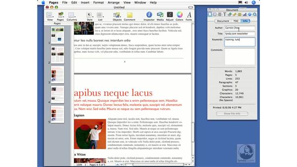 Viewing and adding document info: Pages 2 Essential Training