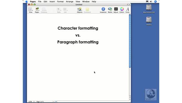Character vs. paragraph formatting: Pages 2 Essential Training