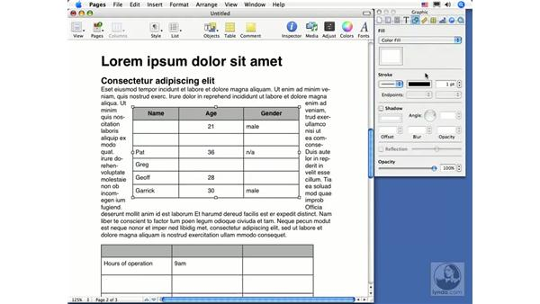 Formatting tables: Pages 2 Essential Training