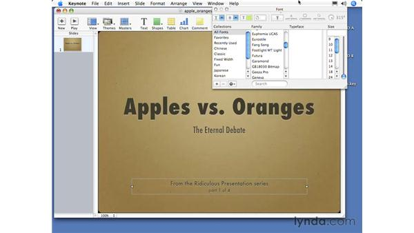Formatting text with the Font palette: Keynote 3 Essential Training