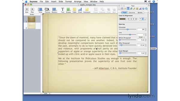 The Text Inspector: Keynote 3 Essential Training