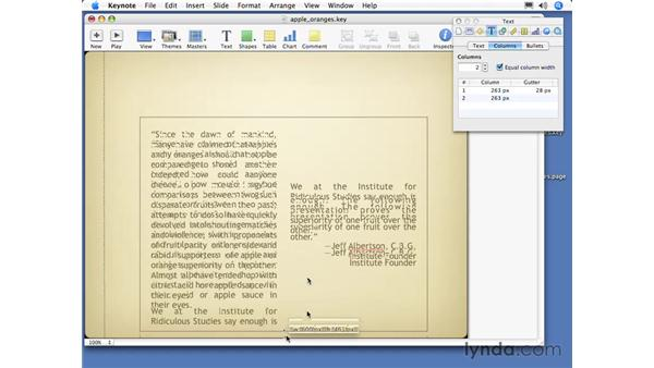 Working with columns: Keynote 3 Essential Training
