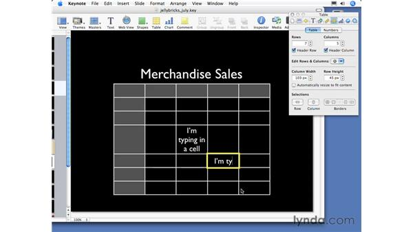 About tables: Keynote 3 Essential Training