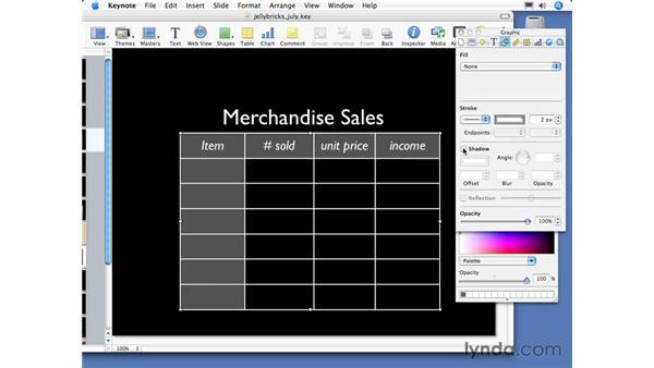 Formatting tables: Keynote 3 Essential Training