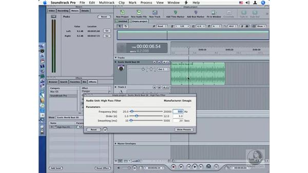 High Pass Filter: Soundtrack Pro Audio Filters