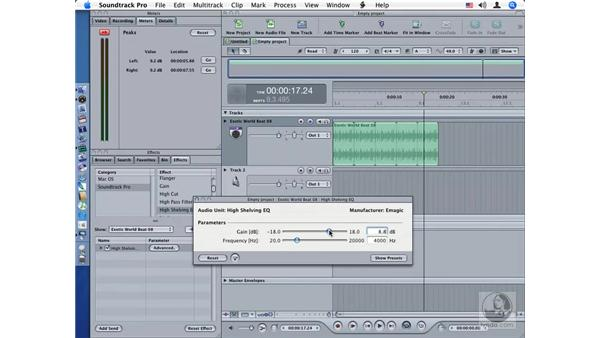 High Shelving EQ: Soundtrack Pro Audio Filters