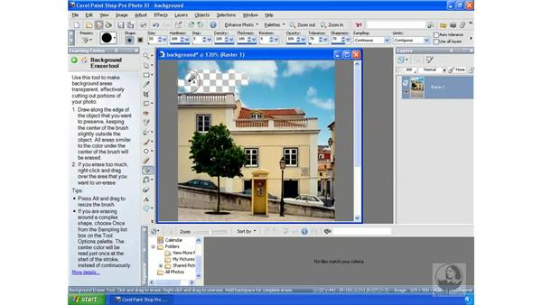 Using the Background Eraser: Getting Started with Corel Paint Shop Pro Photo XI