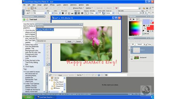 Adding text: Getting Started with Corel Paint Shop Pro Photo XI