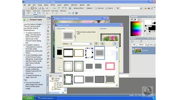 Using picture frames: Getting Started with Corel Paint Shop Pro Photo XI