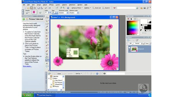 Using picture tubes: Getting Started with Corel Paint Shop Pro Photo XI