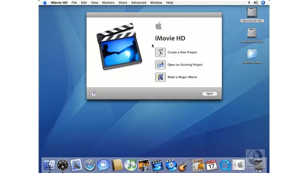 Starting a new iMovie project: iMovie HD 6 + iDVD 6 Essential Training