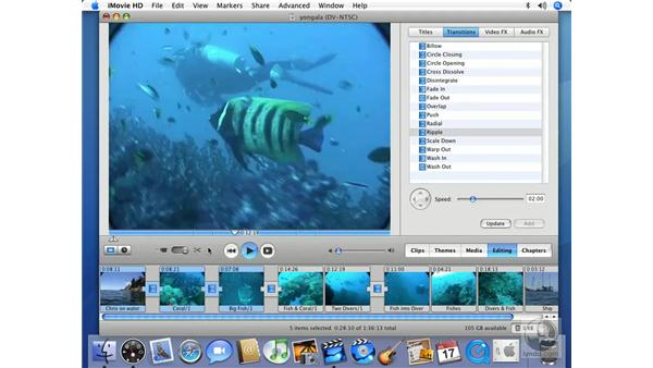 Choosing and controlling a transition: iMovie HD 6 + iDVD 6 Essential Training