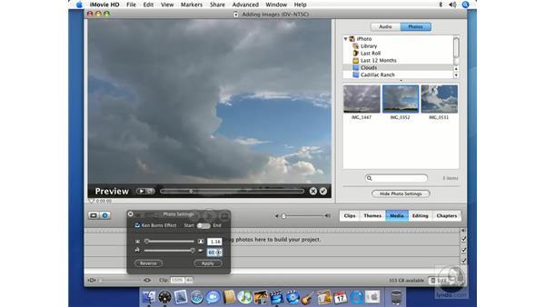 Adding photos: iMovie HD 6 + iDVD 6 Essential Training