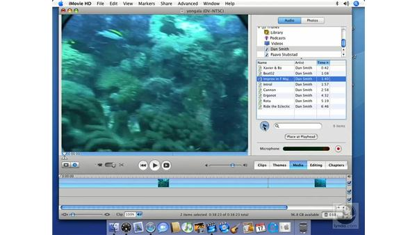Adding audio from iTunes: iMovie HD 6 + iDVD 6 Essential Training