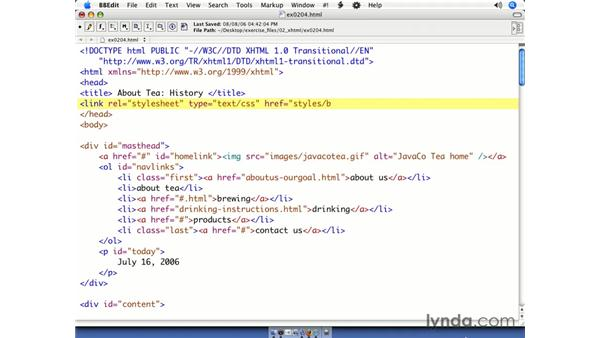 Linking a style sheet: CSS Web Site Design