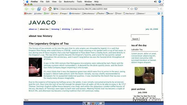 Coloring text: CSS Web Site Design
