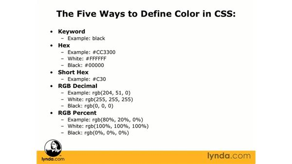 Defining color in CSS: CSS Web Site Design