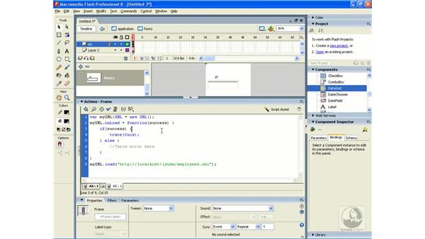Using an XML object to retrieve a static XML file: Flash Professional 8 Building Data-Driven Applications