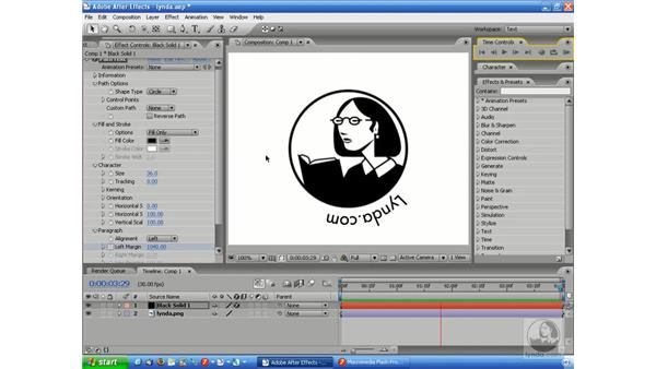 Using the Path text effect: After Effects 7 and Flash 8 Integration
