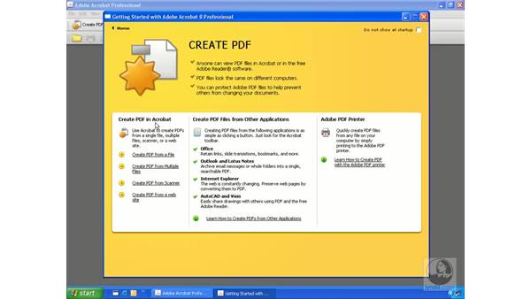 The Getting Started window: Getting Started with Acrobat 8 Professional