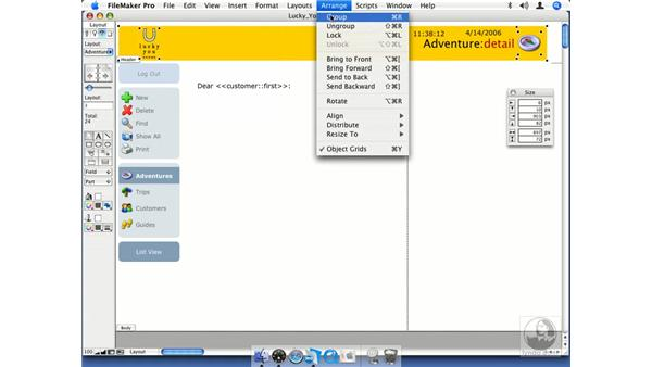 Arranging, grouping, and locking layout objects: FileMaker Pro 8.5 Essential Training