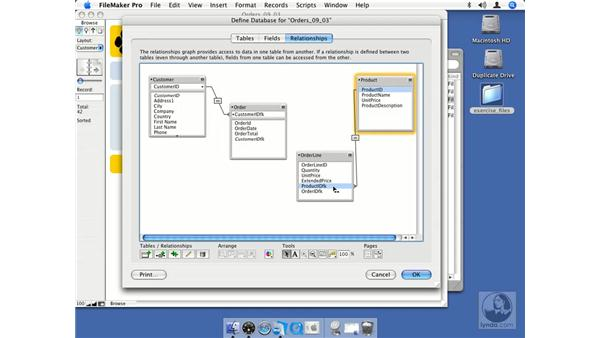 Creating relationships using the FileMaker Relationship Graph: FileMaker Pro 8.5 Essential Training
