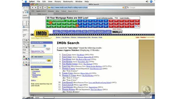 Setting up the Web Viewer using custom URLs: FileMaker Pro 8.5 Essential Training