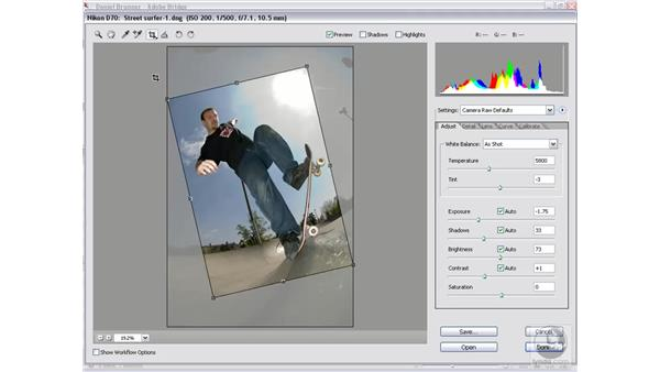 Cropping an image: Photoshop CS2 Mastering Camera Raw