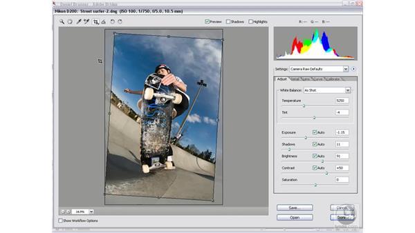 Using the Straighten tool: Photoshop CS2 Mastering Camera Raw