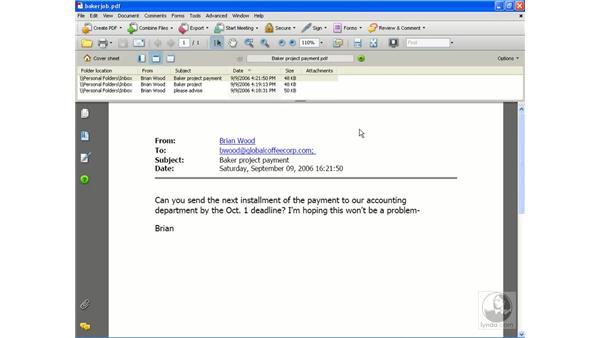 Creating a PDF from Outlook: Acrobat 8 Professional Essential Training