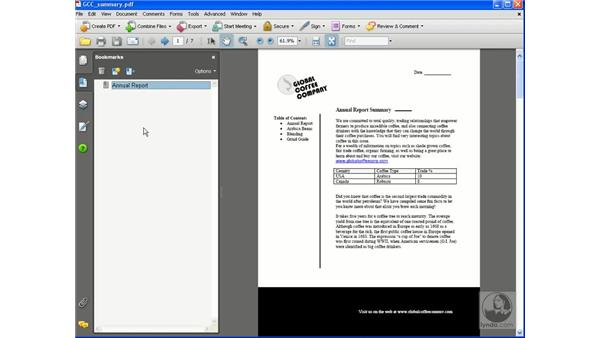 Creating bookmarks: Acrobat 8 Professional Essential Training