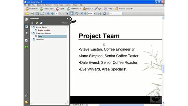 Editing bookmarks: Acrobat 8 Professional Essential Training