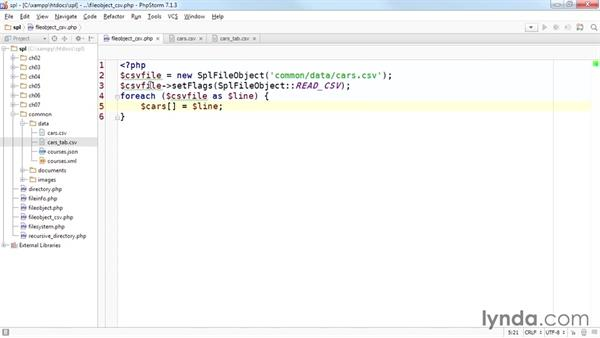 Using SplFileObject to convert a CSV to an array: Up and Running with the Standard PHP Library
