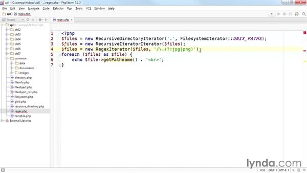 Using regular expressions to filter directories with RegexIterator: Up and Running with the Standard PHP Library