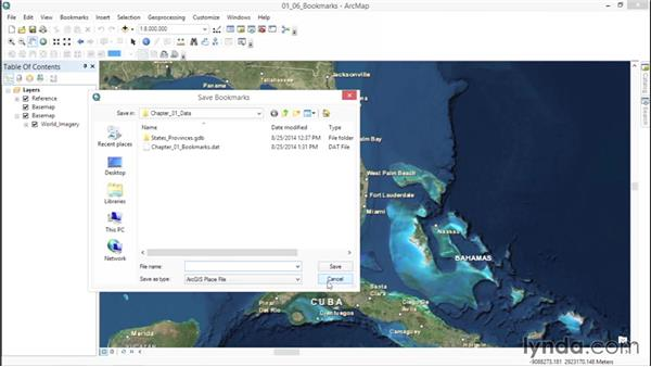 Working with bookmarks: ArcGIS Essential Training