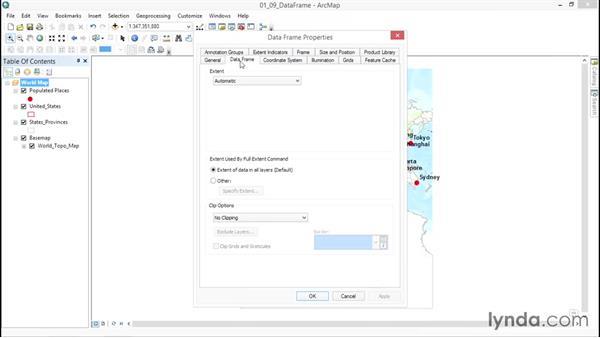 Editing data-frame properties: ArcGIS Essential Training