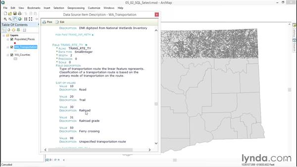 Selecting elements with SQL: ArcGIS Essential Training