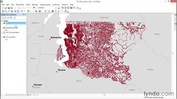 Viewing selections as independent layers: ArcGIS Essential Training