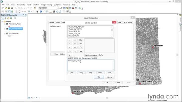 Creating definition queries: ArcGIS Essential Training