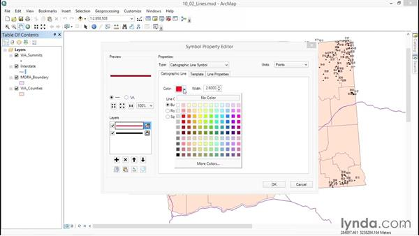 Changing line symbology: ArcGIS Essential Training