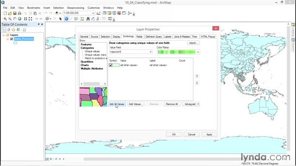 Classifying data: ArcGIS Essential Training