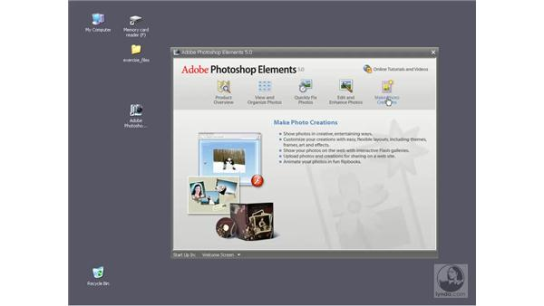 The Welcome screen: Photoshop Elements 5 Essential Training
