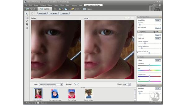 Using the Lighting sliders: Photoshop Elements 5 Essential Training