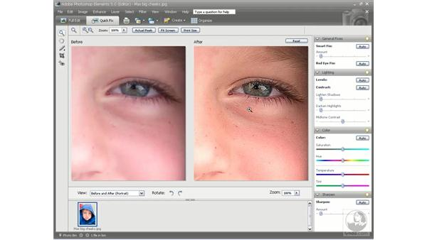 The Sharpen setting: Photoshop Elements 5 Essential Training
