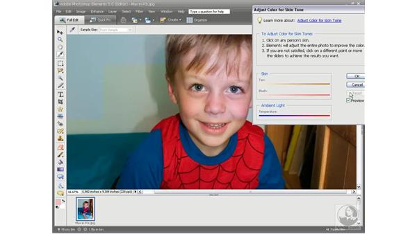 Adjusting for skin tones: Photoshop Elements 5 Essential Training