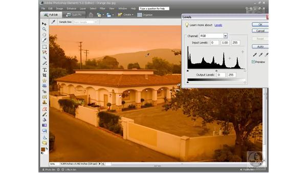 Levels pt. 3: Automatic color cast correction: Photoshop Elements 5 Essential Training