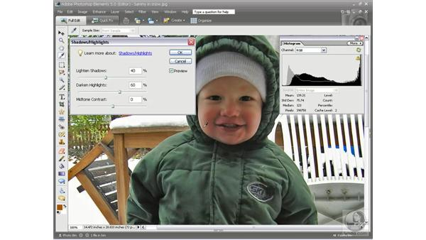 Compensating for flash and backlighting: Photoshop Elements 5 Essential Training