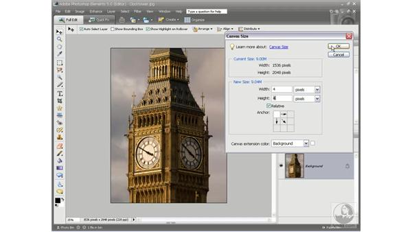 Adding to the canvas size: Photoshop Elements 5 Essential Training