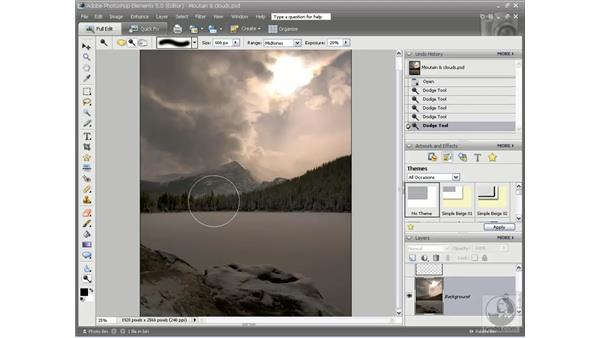 Brightening details with the Dodge tool: Photoshop Elements 5 Essential Training
