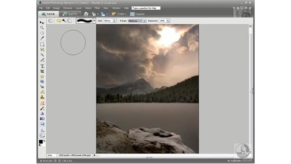 Darkening and saturating with Burn and Sponge: Photoshop Elements 5 Essential Training